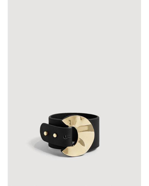 Mango - Black Metal Appliqué Bracelet - Lyst