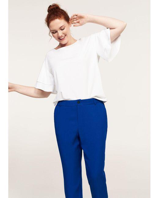 Violeta by Mango | Blue Flowy Straight-fit Trousers | Lyst