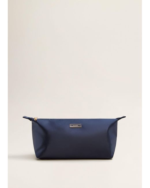 Mango - Blue Satined Effect Cosmetic Bag - Lyst