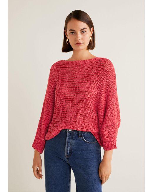 Mango - Red Open-knit Sweater - Lyst