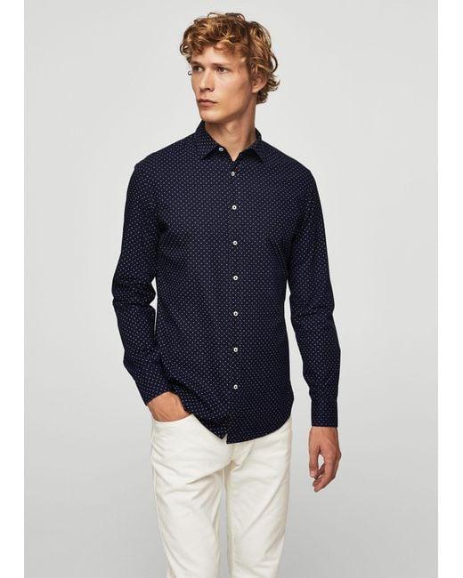Mango   Blue Slim-fit Cross Print Shirt for Men   Lyst