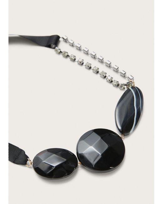 Violeta by Mango | Black Beaded Metal Pendant Necklace | Lyst