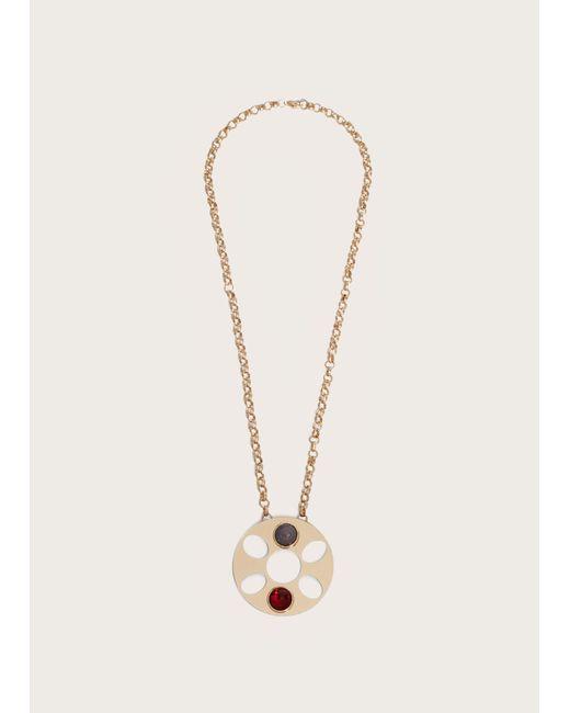 Violeta by Mango - Metallic Pendant Chain Necklace - Lyst