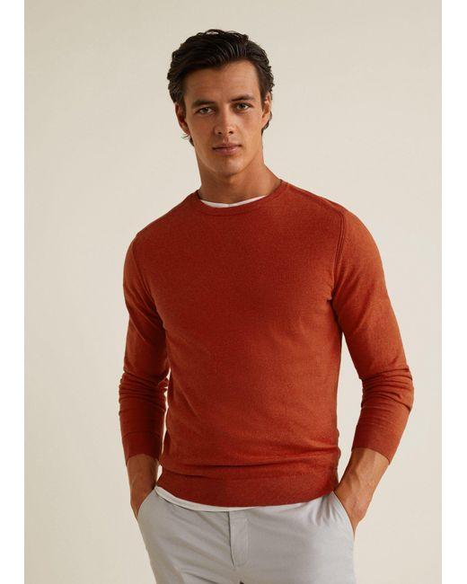 Mango - Orange Contrast Cashmere-blend Sweater for Men - Lyst