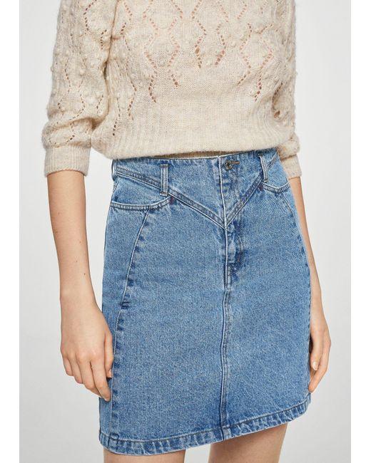 Mango - Blue Interwoven Cord Denim Skirt - Lyst
