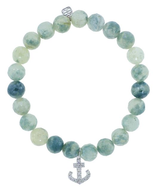 Sydney Evan - Blue Diamond Pave Anchor Charm Bracelet - Lyst