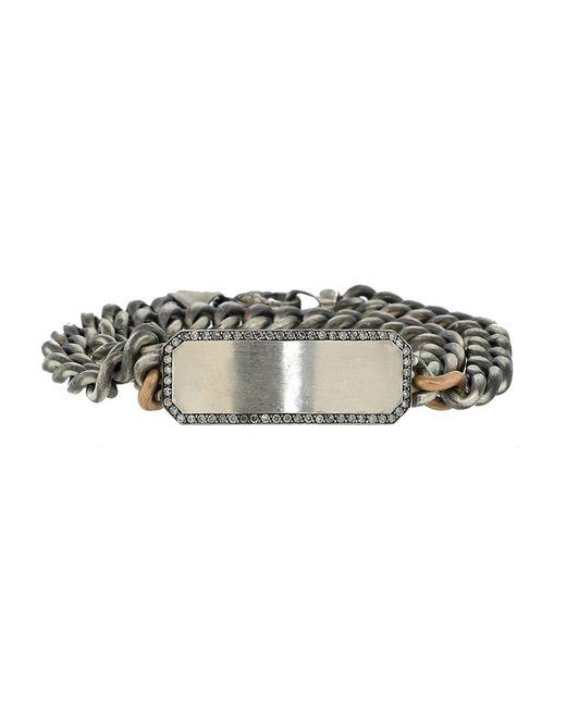 Sylva & Cie - Gray Grey Diamond Id Plate Wrap Bracelet - Lyst