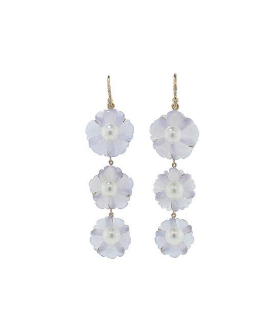 Irene Neuwirth - Blue Chalcedony Carved Flower Earrings - Lyst