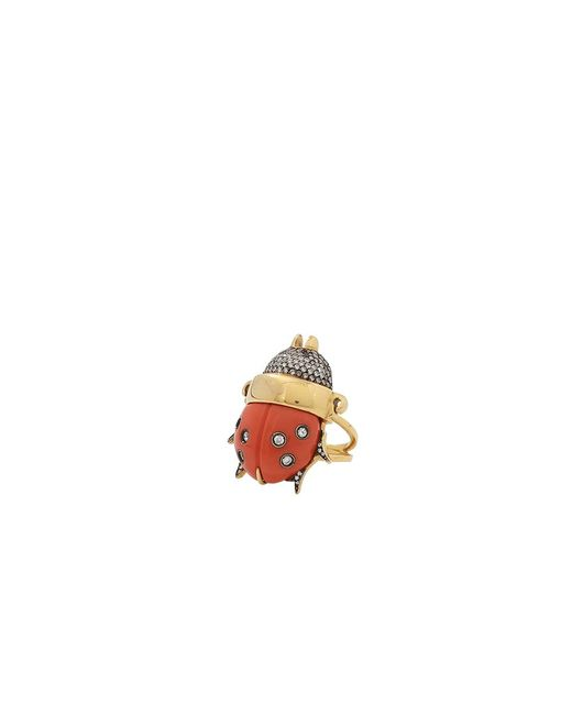 Silvia Furmanovich | Multicolor Coral And Diamond Ladybug Ring | Lyst