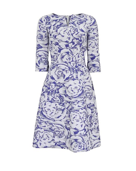 Oscar de la Renta | Blue Ribbon Jacquard Dress | Lyst