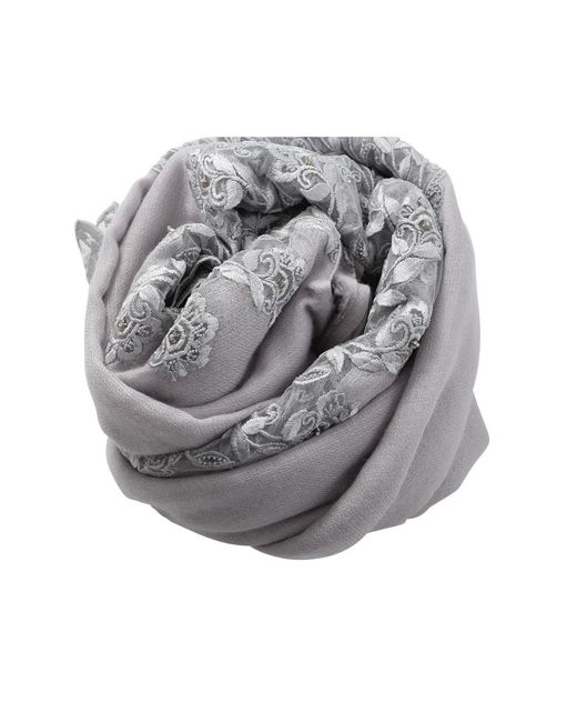 K. Janavi   Gray Floral Embroidered Scarf   Lyst