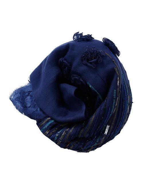 K. Janavi   Blue Floral Beaded Scarf   Lyst