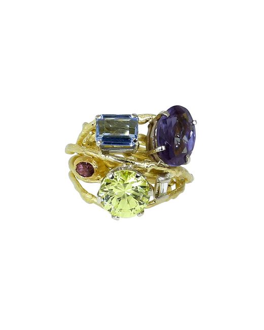 Boaz Kashi | Multicolor Aquamarine And Amethyst Ring | Lyst