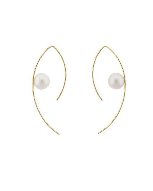 Mizuki   Metallic Floating Pearl Marquis Hoop Earrings   Lyst