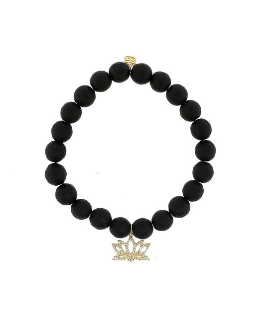 Sydney Evan | Diamond Lotus Flower Black Onyx Beaded Bracelet | Lyst