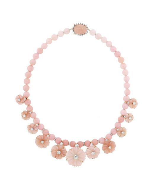 Irene Neuwirth   Carved Pink Opal Flower Necklace   Lyst