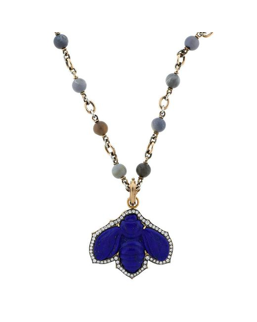 Sylva & Cie | Blue Carved Lapis Bee Pendant | Lyst
