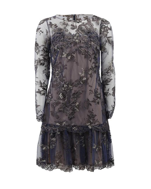Marchesa notte - Blue Embroidered Lace Cocktail Dress - Lyst