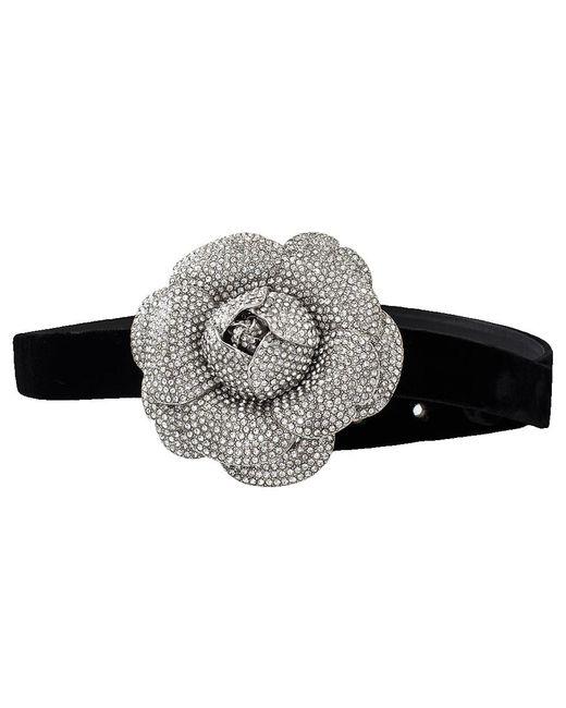 Oscar de la Renta - Black Crystal Flower Belt - Lyst