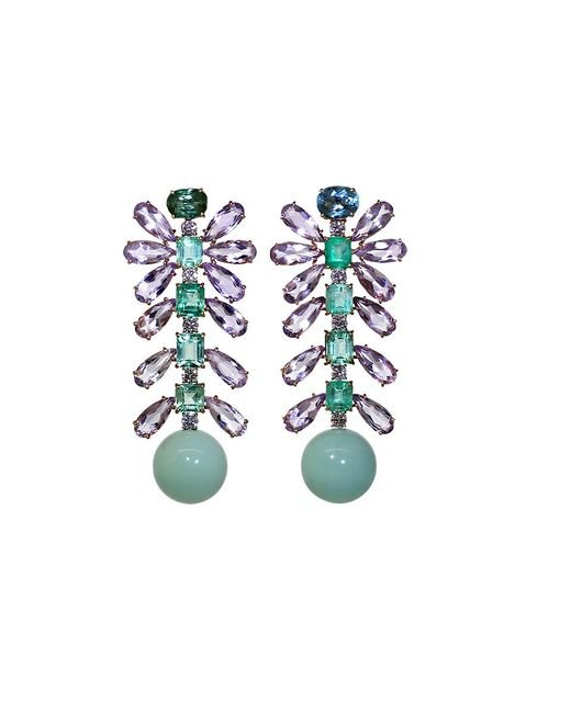 Irene Neuwirth - Green Tourmaline And Emerald Earrings - Lyst