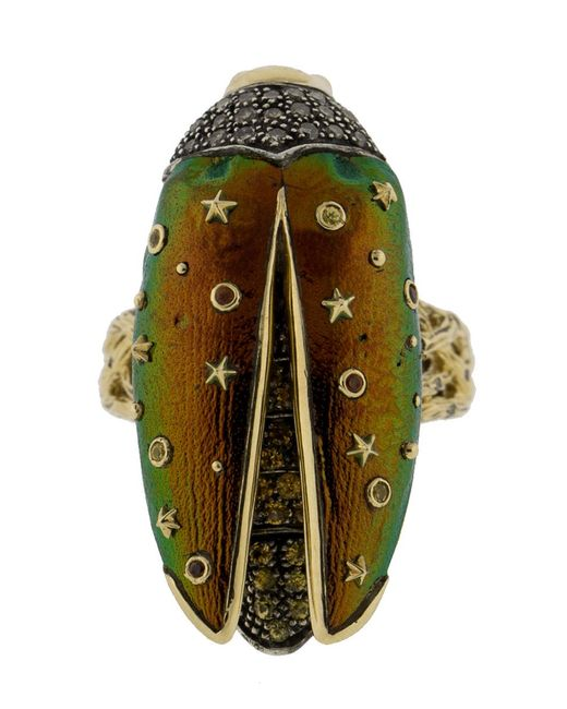 Bibi Van Der Velden - Green Scarab Fly Yellow Gold Ring - Lyst