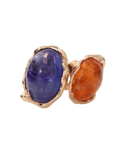 Lucifer Vir Honestus - Blue Tanzanite And Mandarin Garnet Contrarie Ring - Lyst