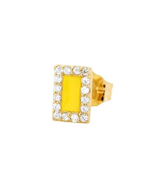Alison Lou | Yellow Enamel And Diamond Stud | Lyst