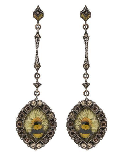 Sevan Biçakci - Green Bumble Bee On Sunflower Earrings - Lyst