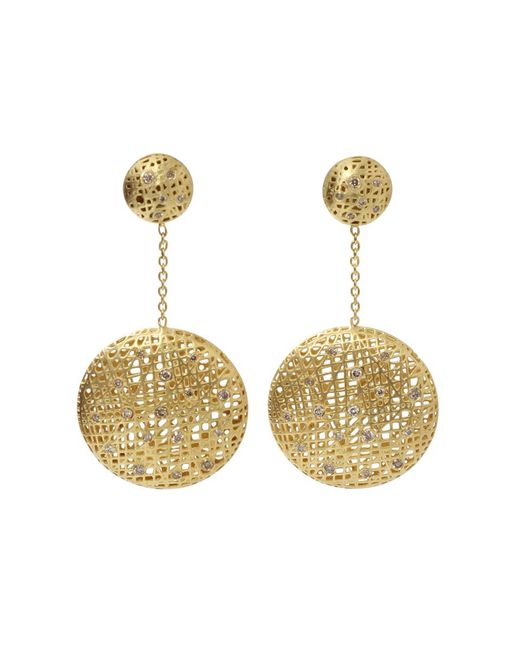 Yossi Harari | Metallic Drop Lace Diamond Earrings | Lyst