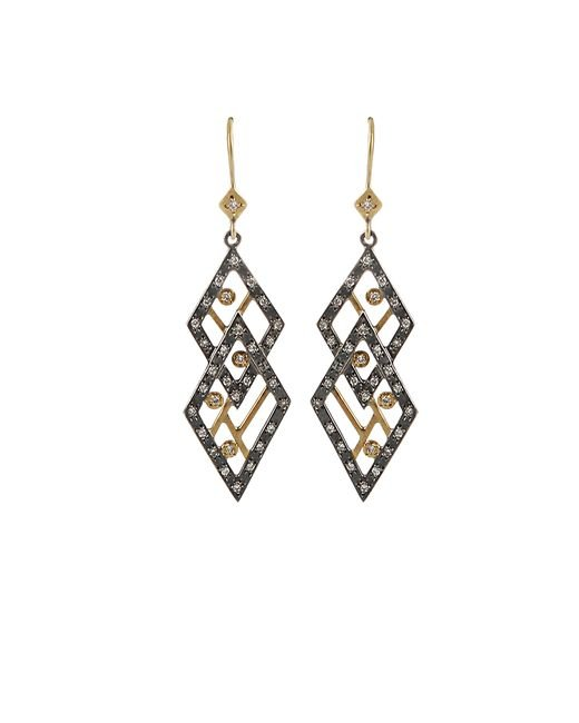 Annie Fensterstock | Metallic Double Diamond Earrings | Lyst