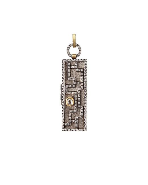 Annie Fensterstock | Metallic Mixed-metal And Diamond Maze Locket Pendant | Lyst