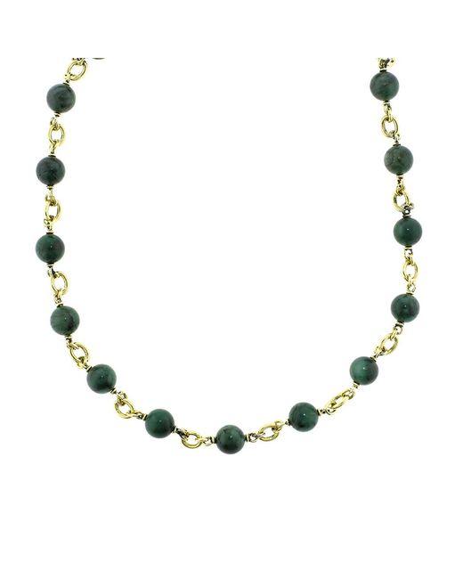 Sylva & Cie - Metallic Emerald Bead Necklace - Lyst