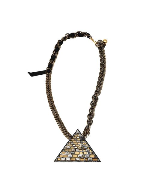Lanvin - Metallic Luxor Pyramid Necklace - Lyst