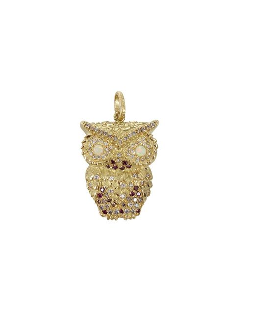 Carolina Bucci | Gray Multi-color Diamond Owl Pendant | Lyst