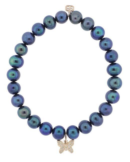 Sydney Evan - Blue Pave Diamond Butterfly Charm Bracelet - Lyst