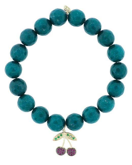 Sydney Evan | Blue Ruby And Emerald Cherry Charm Bracelet | Lyst