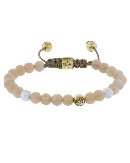 Shamballa Jewels - Metallic Peach Moonstone And White Ceramic Beaded Bracelet - Lyst