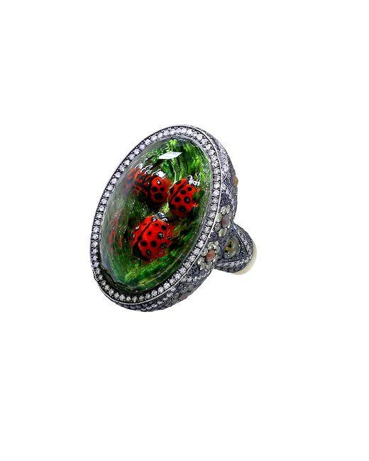 Sevan Biçakci - Green Carved Ladybug Ring - Lyst