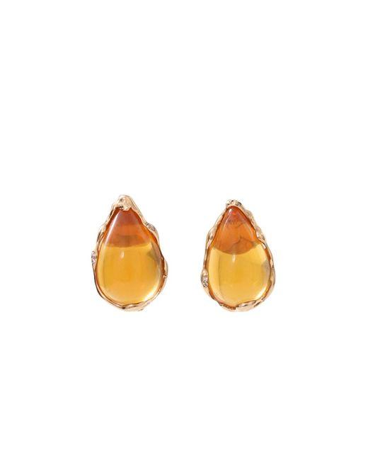 Lucifer Vir Honestus - Orange Fire Opal And Diamond Earrings - Lyst