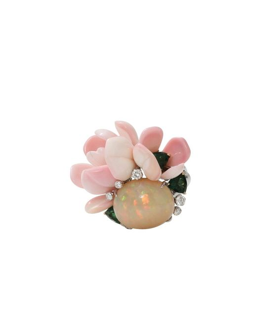 Arunashi | Pink Opal And Conch Petal Ring | Lyst