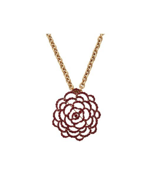 Oscar de la Renta | Metallic Flower Brooch Necklace | Lyst