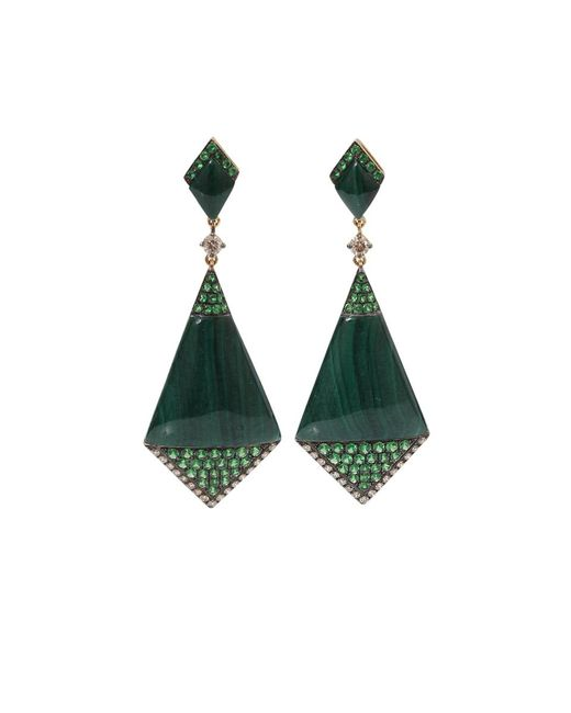 Wendy Yue | Green Malachite Shield Earrings | Lyst