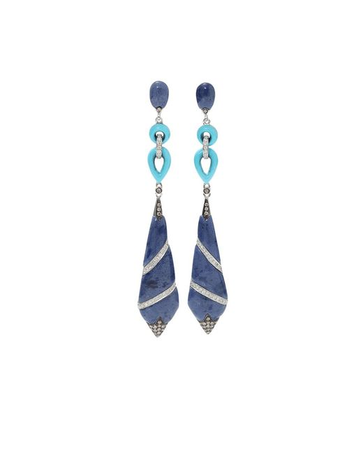 Wendy Yue   Blue Lapis And Turquoise Earrings   Lyst