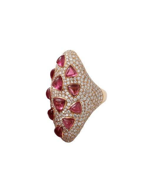 Inbar   Red Rubelite And Diamond Ring   Lyst