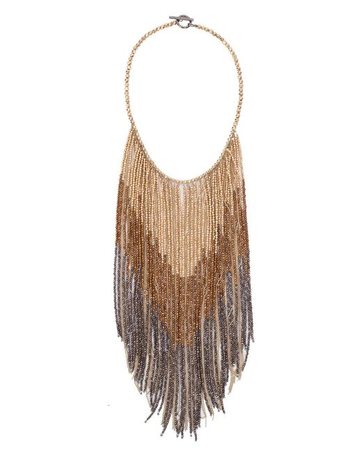 Brunello Cucinelli - Brown Fringe Bib Monili Necklace - Lyst