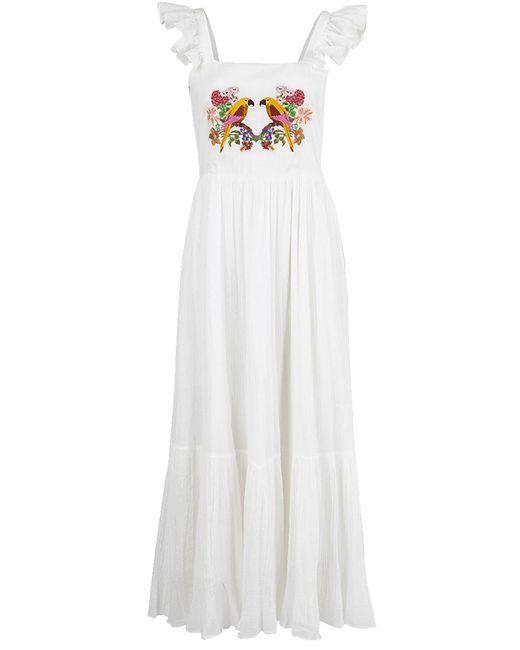 Carolina K - White Ruffle Sleeve Maxi Dress - Lyst