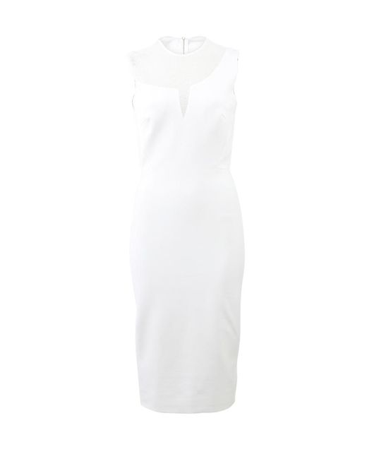 Victoria Beckham | White Sheer Panel Fitted Dress | Lyst