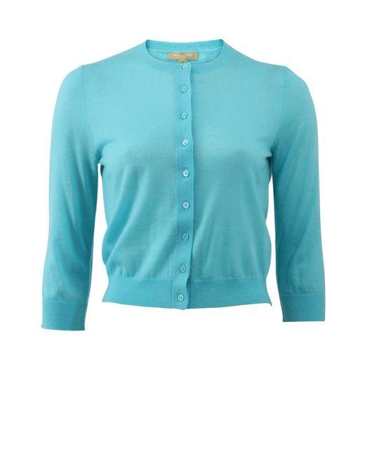 Michael Kors   Blue Cropped Cardigan   Lyst