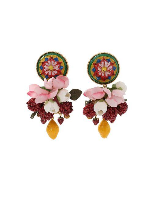 Dolce & Gabbana - Pink Ornate Earrings - Lyst