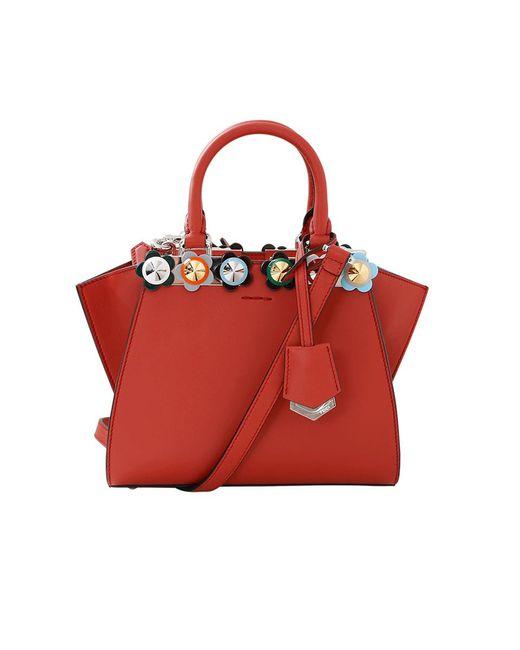 Fendi | Red 3jours Plexi Flower Mini Shopper Bag | Lyst